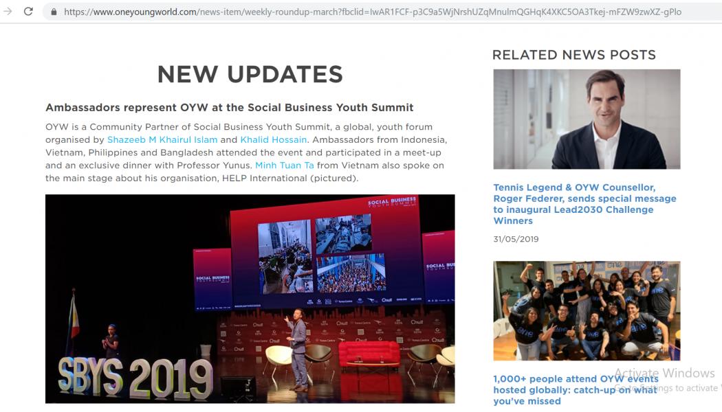 Người Việt Nam trên bảng tin của One Young World và Social Business Youth Summit